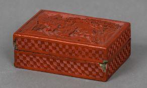 A 19th century cinnabar lacquered box Of rectangular form,