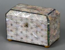 A Victorian mother-of-pearl and abalone shell tea caddy With engraved floral decoration,