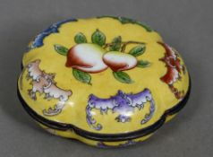A small Cantonese yellow ground box and cover Of lobed form,