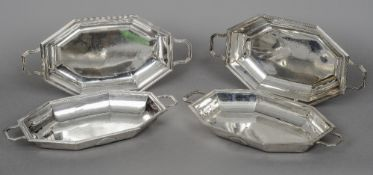 A pair of George III silver entree dishes and covers, hallmarked London 1792,