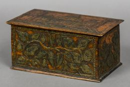 An early 20th century prisoner of war box The removable lid decorated with an Islamic building,