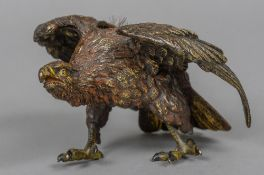A late 19th/early 20th century cold painted bronze pen wipe Formed as an eagle,