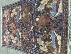 A Middle Eastern wool figural carpet The midnight field enclosing various figures and animals,