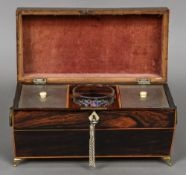 A Regency line inlaid rosewood tea caddy Of sarcophagus form,