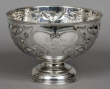 An Edwardian Art Nouveau silver pedestal bowl, hallmarked Sheffield 1901,