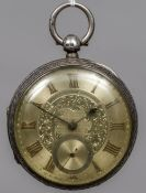 A large Victorian gentleman's silver pocket watch,