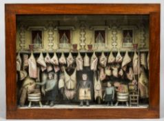 A 19th century butcher's shop diorama Of typical form, with hanging joints,