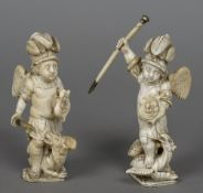 A pair of 18th/19th century Dieppe carved ivory figures Each formed as a cherub fighting a dragon.