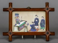 A 19th century Cantonese rice paper picture Depicting various figures in a courtly interior,