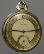 A 14 ct gold Omega pocket watch The main dial with Arabic numerals and batons and with subsidiary