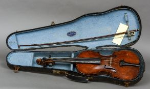 A 19th/20th century violin Bearing label for Ch. J.B.