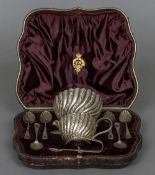 A Victorian cased silver tea set, hallmarked London 1893,
