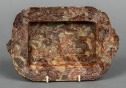 A late 19th century Chinese carved soapstone dish Of rounded rectangular form,