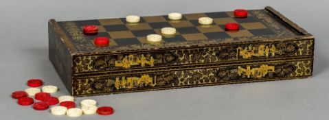 A 19th century Cantonese lacquered games box Of typical hinged form,