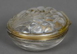 A diamond set gold mounted crystal box Of shell form, marked for 56 Zolotniks. 9 cm wide.