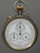 A 935 silver cased spilt second chronograph pocket watch The multi-dial face inscribed S.