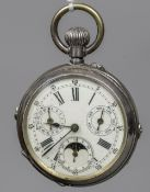 A French unmarked white metal multi-dial pocket watch The white dial with day,