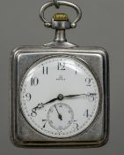 An Omega silver cased pocket watch Of square form, the reverse decorated with a bobsleigh scene.