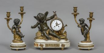 A cherub mounted white marble clock garniture The clock formed as a drum supported by a cherub with