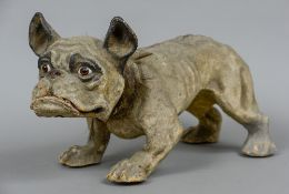A 19th century papier French bulldog Of typical form,