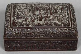 A 19th century Chinese cinnabar lacquered box The domed removable lid decorated with figures and