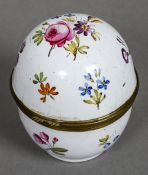 An 18th century enamelled table top pomander The hinged cover and body decorated with floral sprays,