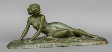 UGO CIPRIANI (1887-1960) Italian Reclining Art Deco Nude Terracotta with green patination Signed