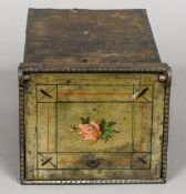 A Victorian decorated metal wall safe The fall front worked with a floral spray. 24.5 cm deep.