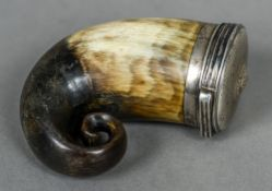 A Scottish unmarked white metal mounted horn snuff mull Of typical hinged form. 8 cm high.