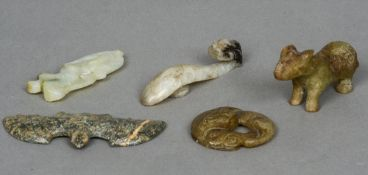 A Chinese carved hardstone model of a bat Together with four other various Chinese carved hardstone