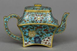 A Chinese cloisonne teapot and cover Overall decorated with lotus strapwork,