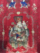 A 19th century Chinese embroidered silkwork temple hanging Decorated with a dragon and courtly