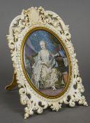 After MAURICE QUENTIN DE LATOUR (1704-1788) French Full length miniature portrait of Madam du