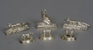 Three George V silver menu holders, hallmarked London 1913,