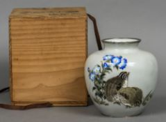A Japanese cloisonne ovoid vase Decorated with quail beside floral sprays,