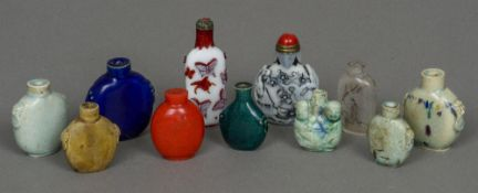 A collection of eleven various Chinese snuff bottles The largest 9.5 cm high.