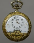 A French pocket watch The front with open escapement, the reverse decorated with a steam train.