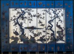 An early 20th century Chinese lacquered eight fold screen Of large proportions,