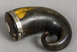 A 19th century Scottish horn snuff mull Of typical hinged form. 8.5 cm high.