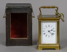 A 19th century brass cased carriage clock Of typical form,