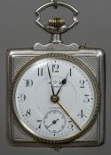 A Continental 800 silver cased Eterna alarm pocket watch Of square form,