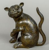 A 19th century Chinese bronze censor Formed as a temple lion. 15.5 cm high.