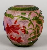A Chinese Beijing glass vase and cover The six colour overlay body carved with goldfish,