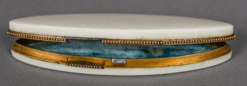 A 19th ivory patch box Of navette form, with a secret catch, the lid interior set with a mirror. 9.