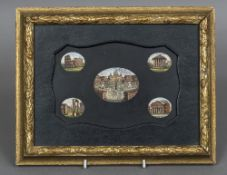 An Italian micro mosaic plaque The shaped panel inset with five scenes of Rome, framed.