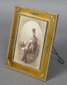 A Russian diamond and amethyst mounted yellow enamelled photograph frame with 88 Zolotnik export