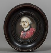 Attributed to RICHARD CROSSE (1742-1810) British Portrait miniature of a Gentleman in a Red