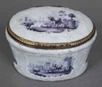 An 18th century German enamel box and cover Worked with animalier vignettes within C-scrolls.