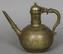 An 18th century Ottoman bronze ewer Of spherical form, decorated with floral panels,