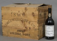 Smith Woodhouse & Co. 1985 Vintage Port, bottled in 1987 Ten bottles, in old wooden case.